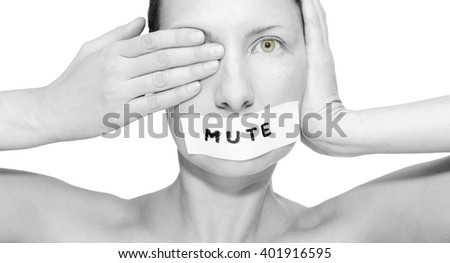 Girl see, hear, speak no evil - stock photo
