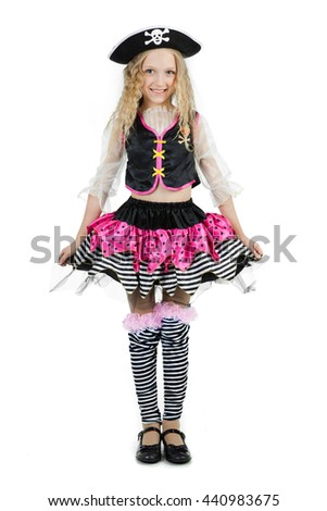 Girl seven years old wearing a pirate carnival costume of Halloween - stock photo