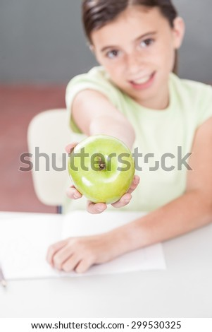 Girl sharing a apple