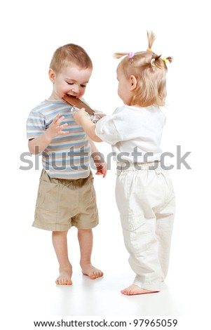 girl sharing chocolate with boy isolated on white - stock photo