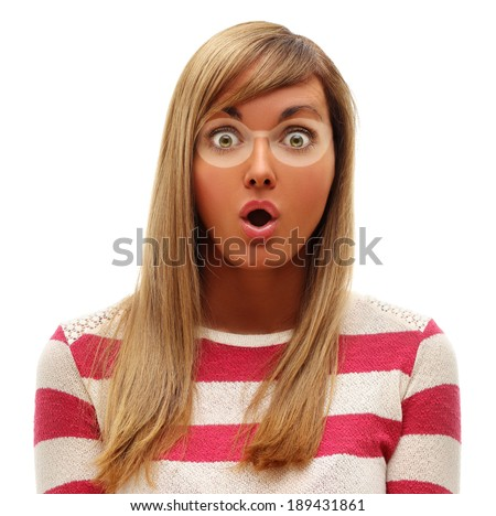 Girl shocked by extent of sun burn.Very Tanned Blond Woman.White background - stock photo