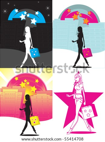 Girl shopping all day. Separated into layers for easy editing. - stock photo