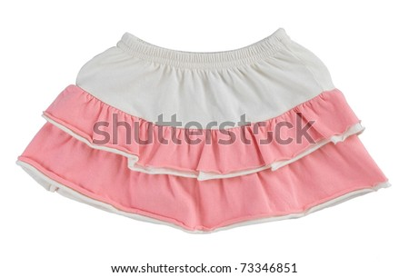 Girl short skirt one of her favorite dressing isolated on white - stock photo