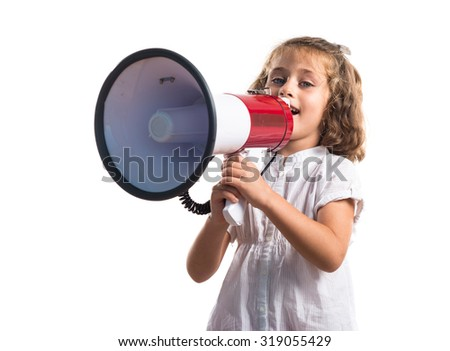 Girl shouting by megaphone