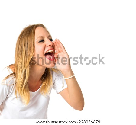 Girl shouting over isolated white background