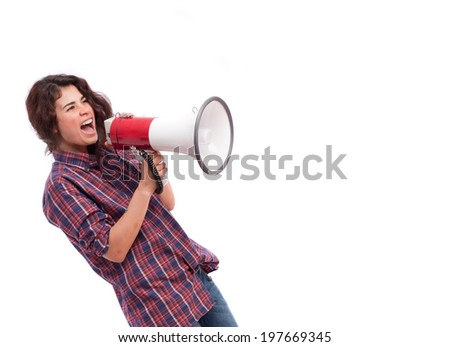 Girl shouting with a megaphone