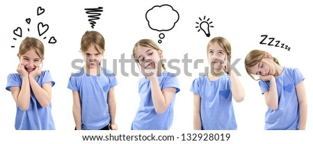 Girl showing different emotions - stock photo