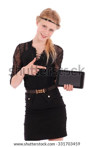 Girl showing finger on a tablet pc isolated on white