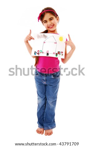 Girl showing off drawing isolated on white