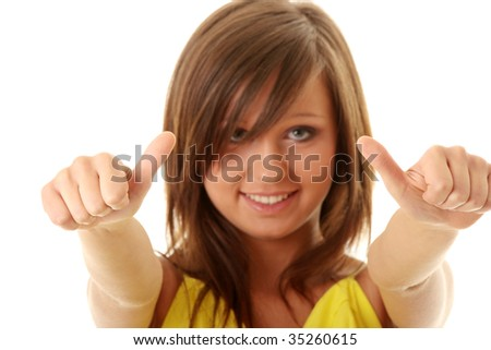 Girl showing OK sign isolated on white