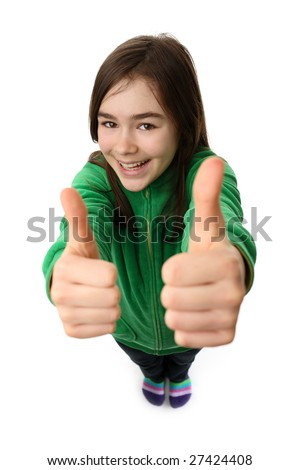 Girl showing OK sign, standing isolated on white background - stock photo