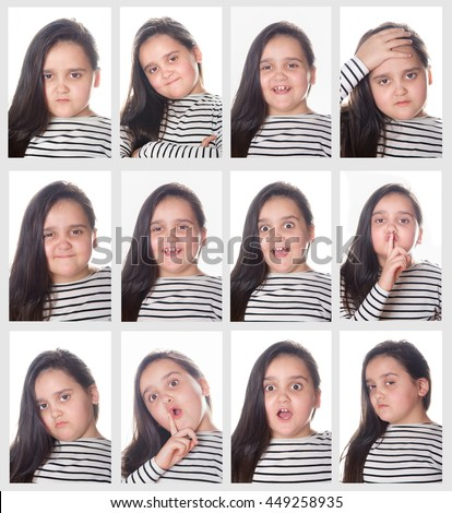 Girl shows the expression of emotions