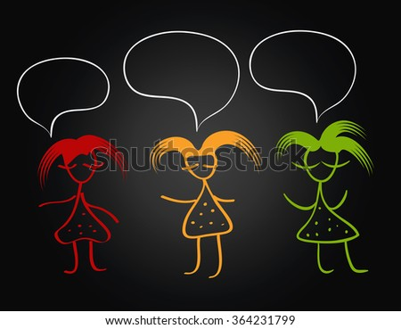 girl silhouette funny hair multi color on a black background.