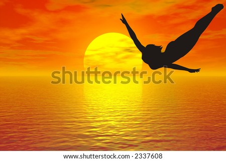 girl silhouette jump in water
