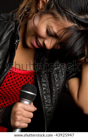 Girl Singing - stock photo