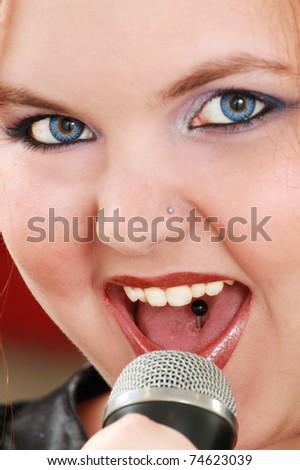 Girl singing - stock photo