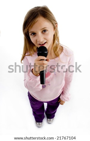 girl singing into microphone on an isolated background - stock photo