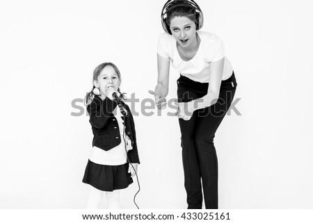 girl sings DJ - stock photo