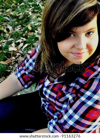 Girl Sitting - stock photo