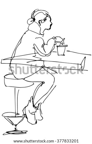 girl sitting at a table in a cafe on a highchairju - stock photo
