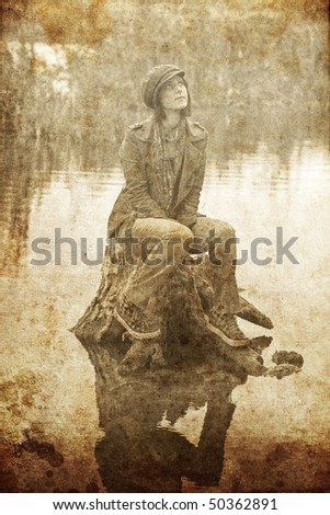 Girl sitting at stub in water. Photo in old image style.