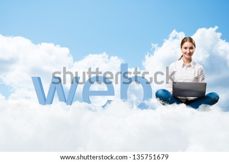 girl sitting cross-legged on the clouds with the laptop, next to the letters WEB