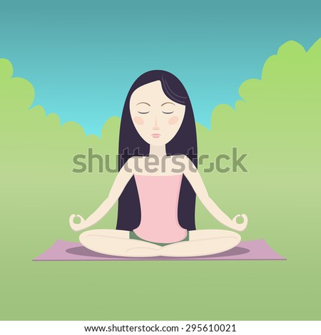 Girl sitting in the lotus pose and meditating. Simple nature background. Cartoon illustration. - stock photo