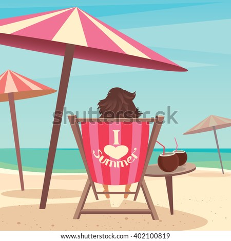 Girl sitting on a deck chair under an umbrella by the sea - Relax or laze concept. Raster version of illustration