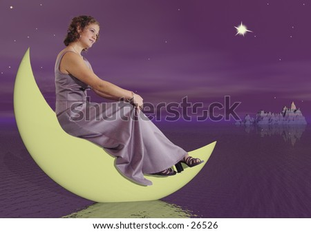 Girl sitting on a quarter moon as it dips into a lake - stock photo