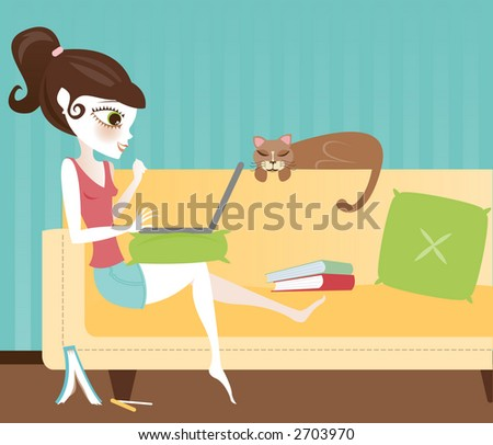 Girl sitting on her sofa with her sleeping cat, surrounded by books and working on her laptop - doing research online, writing a paper or just doing her homework - stock photo
