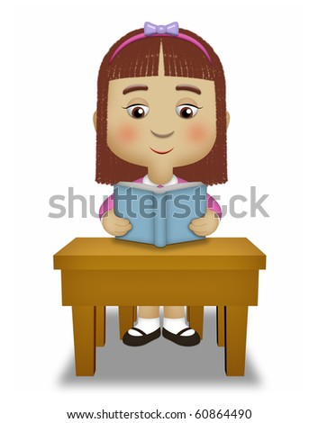 Girl sitting reading a blue book. - stock photo