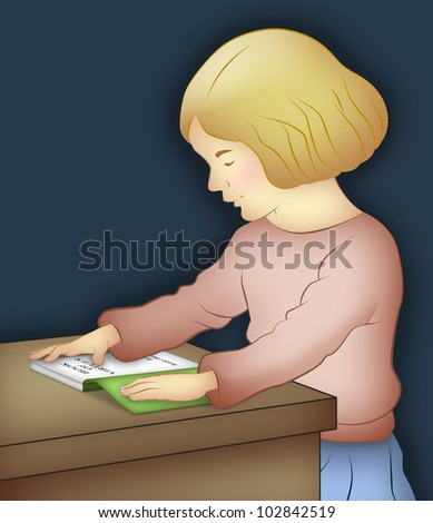 Girl sitting reading a book on table. - stock photo