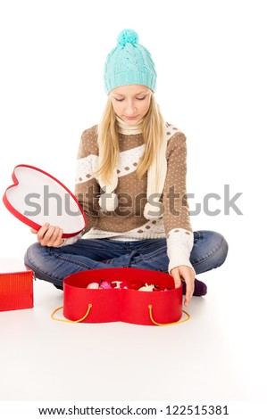 girl sitting with gifts - stock photo