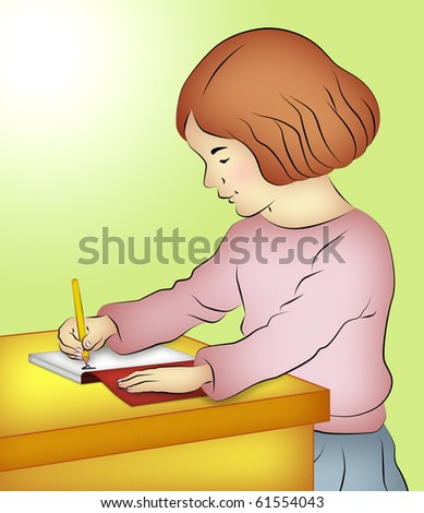 Girl sitting writing in her notebook. - stock photo