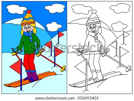 Girl skiing in the mountains - a coloring book for young children - Illustrations