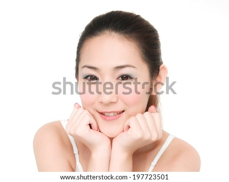 girl Skin care and her touch health face
