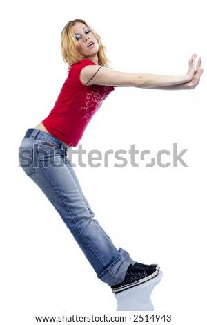 girl slide down - stock photo