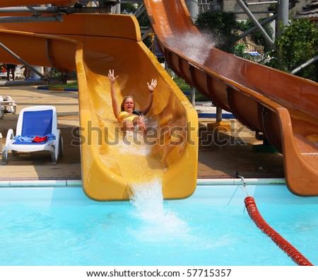 Brilliant Woman On A Water Slide Stock Photo  Getty Images