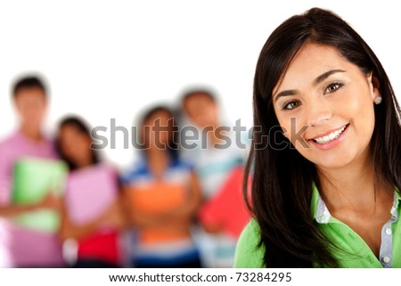 Girl smiling with a group behind her � isolated over white - stock photo
