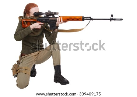 girl  sniper with SVD sniper rifle isolated on white background - stock photo
