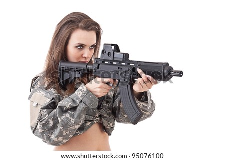 Girl soldier with gun, isolated on white background - stock photo