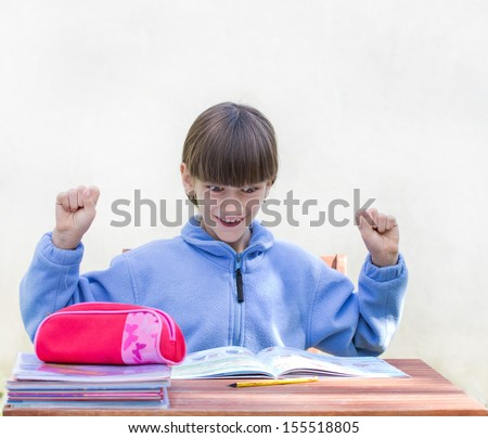 Girl solved problem and is excited - stock photo