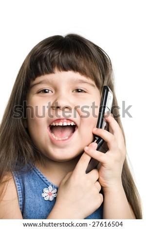 Girl speaking on the phone, white backdrop - stock photo