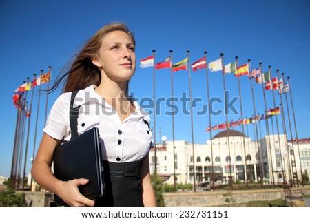 girl student of the International University - stock photo