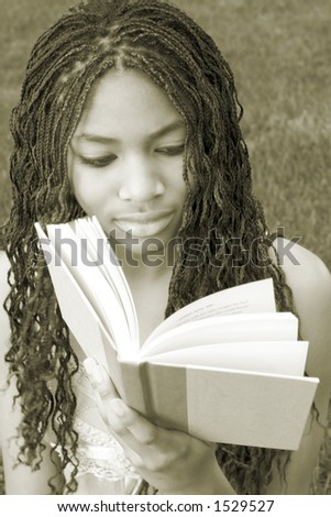 Girl Student Reading - stock photo