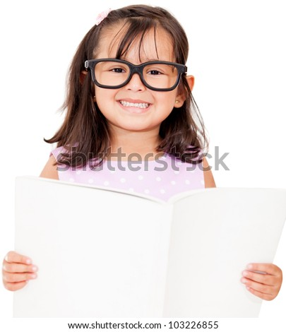 Girl student reading book - isolated over a white background - stock photo
