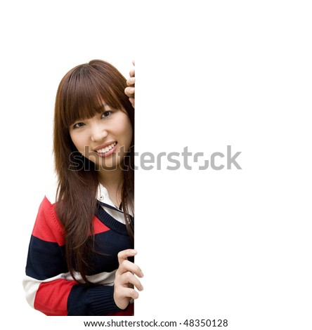girl student with whiteboard - stock photo