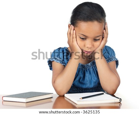 Girl studying in the school a over white background - stock photo