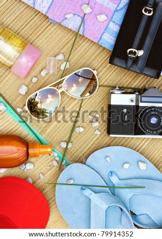 Girl stuff for summer holiday for beach - stock photo
