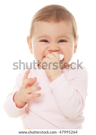 Girl sucking a baby wipe